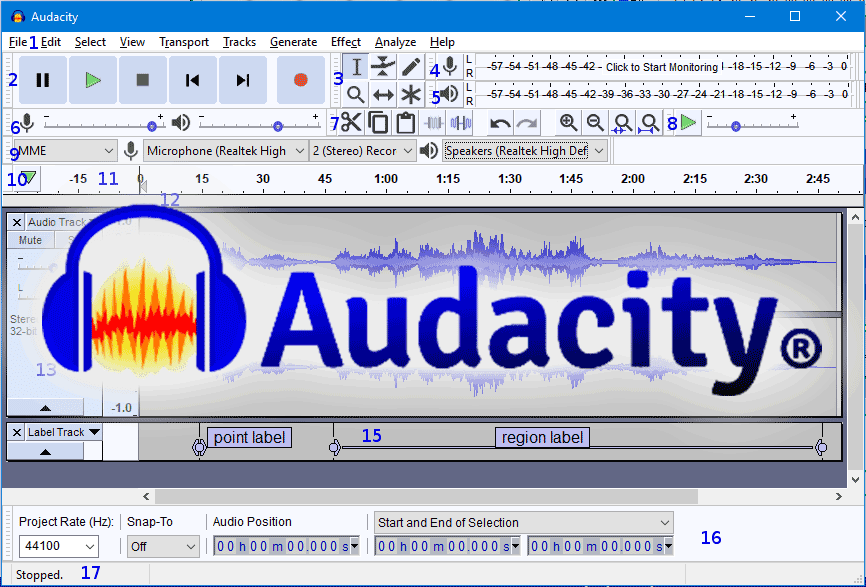 Giao diện phần mềm Audacity