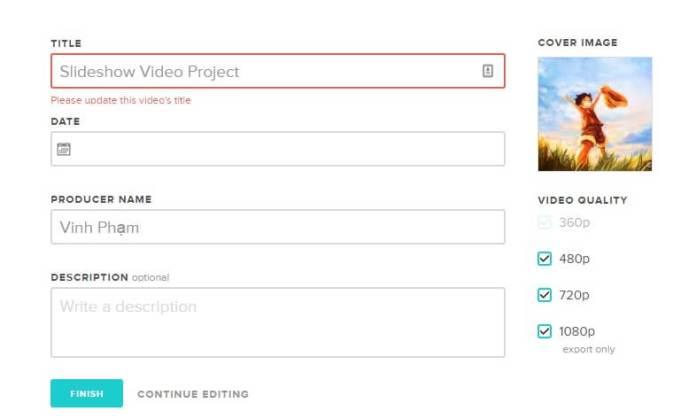 Đặt tiêu đề video và chia sẻ video đó