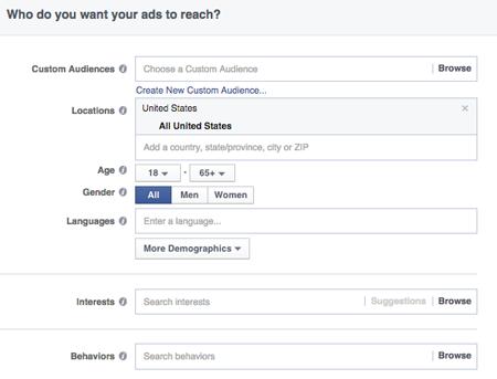 target cho quảng cáo trên facebook