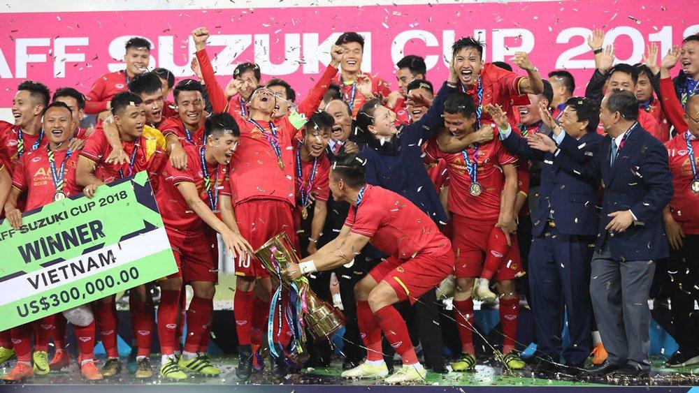 Hình ảnh đội tuyển Việt Nam vô địch  AFF Suzuki Cup trên truyền hình.