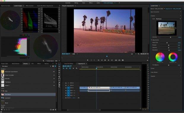 giao diện Phần mềm Adobe Premiere Pro CC