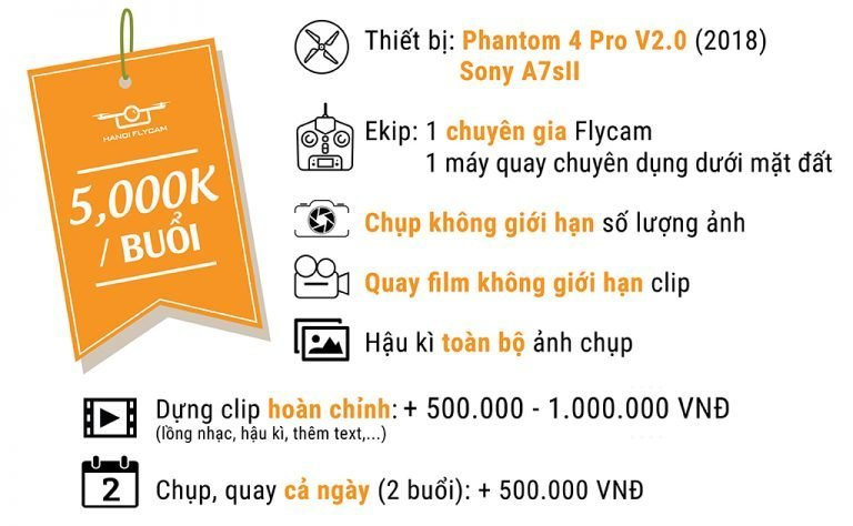 Bảng giá dịch vụ quay Flycam