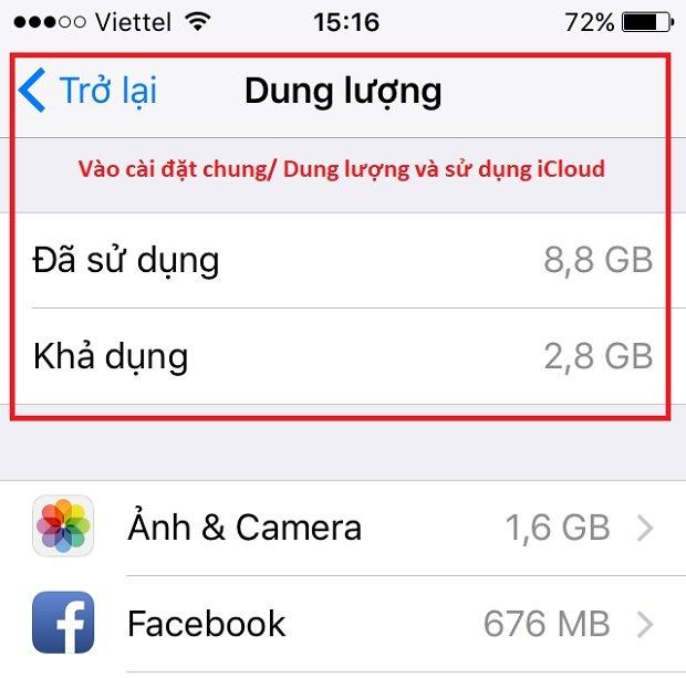 Kiểm tra dụng lượng điện thoại